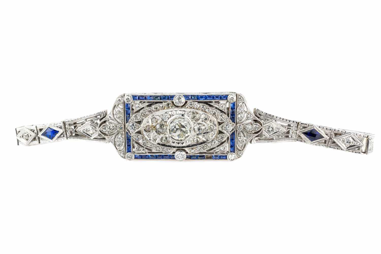 Armband des Art Déco Platin, mit zentralem Diamant im Altschliff, ca. 0,5...