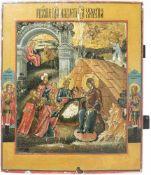 Weihnachtsikone 'Geburt Christi, Anbetung der drei Könige' Zentralrussland, 19. Jarhundert,