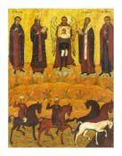 Ikone 'Erzengel Michael und Florus und Laurus' Russland, um 1800, Eitempera auf Holz, lasierter