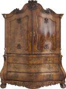 Kabinettsschrank Niederlande, 19. Jh, Eichenholz furniert, 200 cm x 190 cm x 76 cm