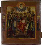 Ikone 'Heilige Dreifaligkeit mit Silberoklad' Russland, Eitempera auf Holz, 31 cm x 26 cm,