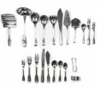 Umfangreiches Speisebesteck für 6 Personen 68-tlg., Robbe & Berking, 'Alt-Faden', Silber 925, 6