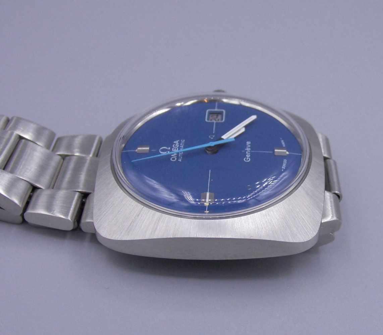 "Lot 20 - OMEGA AUTOMATIC HERRENARMBANDUHR ""SQUARE"", 1970 / Omega wristwatch, im Stahlgehäuse und mit Stahl-"