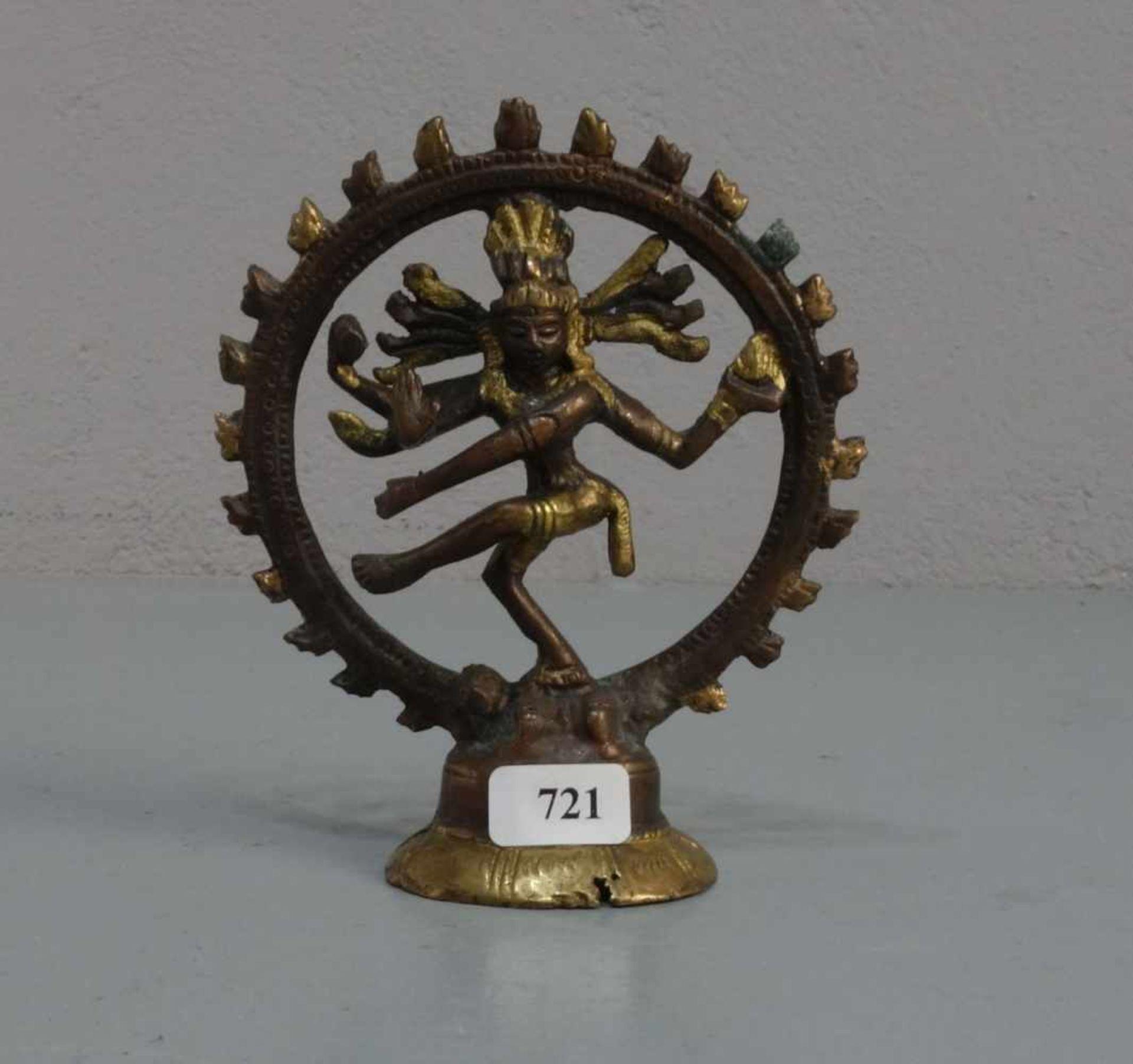 """Los 721 - SKULPTUR / sculpture: """"Shiva"""", Indonesien, Bronze, hellbraun patiniert und goldfarben..."""