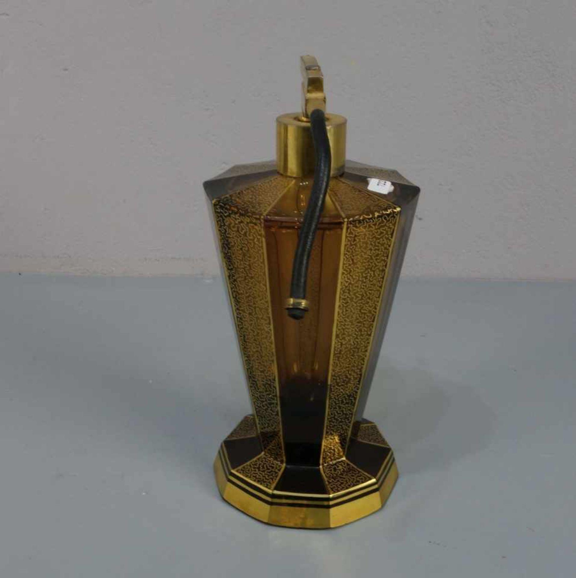 ART DÉCO - FLAKON mit Zerstäuber / flacon, bernsteinfarbenes Glas, wohl Haida, Böhmen, 1930er Jahre. - Bild 2 aus 4
