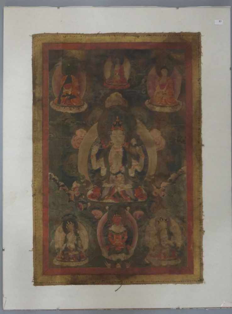 TIBETISCHE TANGKA / THANKA mit verschiedenen Bodhisattvas in durch Wolken angedeuteter himmlischer Sphäre; Temperamalerei auf Baumwolle, hinter Glas gemalt. Bildträger ca. 49,7 x  37 cm (Versand ohn