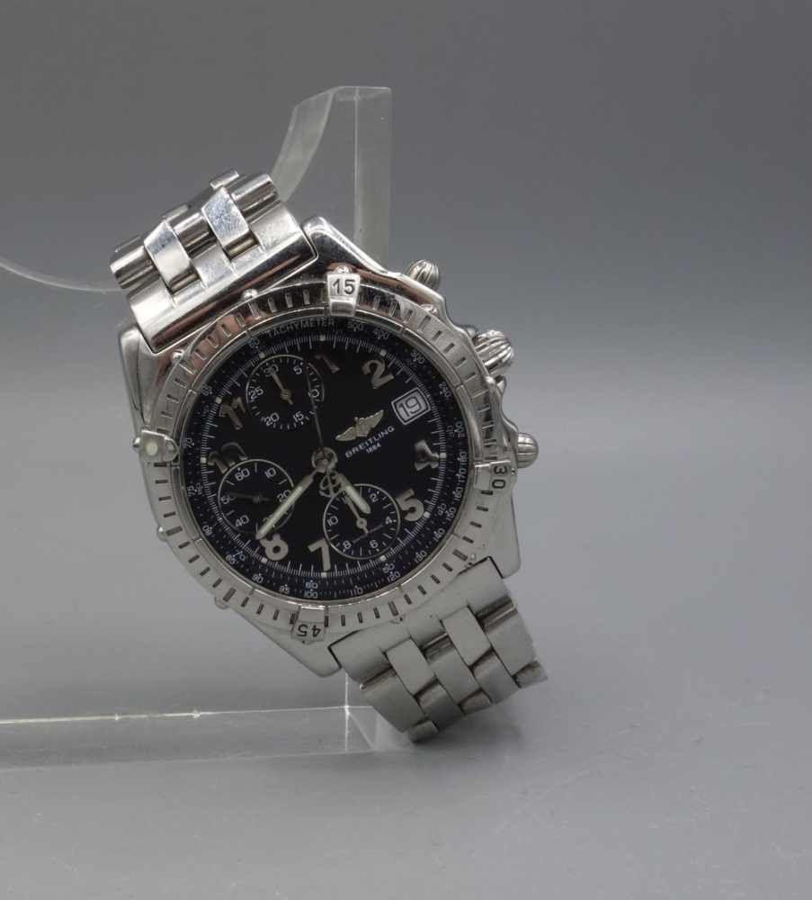 ARMBANDUHR: BREITLING CHRONOMAT 1884 / wristwatch, Automatik, Manufaktur Breitling SA / Schweiz. Erworben 1998. Chronomat mit einseitig drehbarer Lünette und Gliederarmband mit Faltschließe. Referen