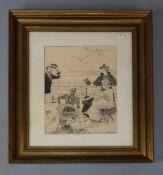 """FISCHER, PAUL GUSTAV (Kopenhagen 1860-1934 Gentofte), Tuschezeichnung: """"Teegesellschaft auf See"""","""