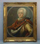 """BAROCKES HERRSCHERPORTRÄT: """"Bildnis des dänischen Königs Frederik IV (1671-1730) / """"Portrait of the"""