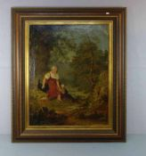 """MALER DES 19. JH., Gemälde / painting: """"Auf der Rast"""", Öl auf Leinwand / oil on canvas, unsigniert."""