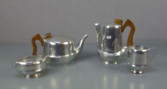 ART DÉCO - KERNSERVICE: Teekanne, Kaffeekanne, Milchkännchen und Zuckerdose, Aluminium-Legierung (