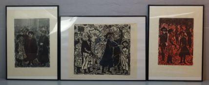 """GRIMM, WILLEM (Eberstadt 1904-1986 Hamburg), drei Holzschnitte / woodcuts: """"Rummelpott-Szenen"""" auf"""