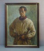 """BUSCH, CARL (Münster 1905-1973 ebd.), Gemälde / painting: """"Selbstbildnis mit Pinsel"""", Öl auf"""
