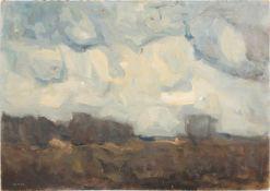 OTTO ULMER, Landschaft mit Wolken, Öl/Hartfaserplatte, 1955.<