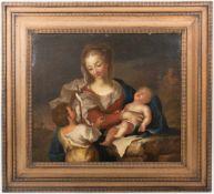 UNBEKANNTER KÜNSTLER, Heilige Maria mit Johannes, Öl/Lw, 19. Jh<b