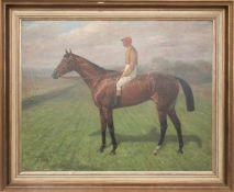KARL VOLKERS, Rennpferd mit Jockey, Öl auf Leinwand, Deutschland, 1943.<
