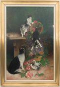 A. SCHWALM, Spielende Katzen unter Rosen, Öl/Lw, 20. Jh<
