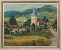 ERWIN ENDERLE, Dorfansicht, Acryl/Lw, Deutschland 20. Jh