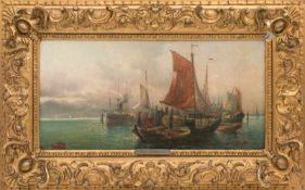 ANT. SORELLI, Schiffe bei Flut, Öl/Lw, 19./20. Jh<