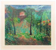 ANTON GOLD, Blick durch den Garten auf ein Haus, Öl/Lw, Deutschland, 20. Jh<