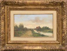 FRED JOHANNES FRAUENFELDER, Holländische Landschaft, Öl/Holz, 20. Jh<b