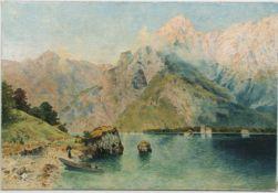 M.EICHHORN, Am Bergseeufer, Öl/Lw, 1908.<