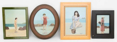 SIGNIERT LÉPIDIS, Konvolut von vier Frauen Am Strand, Öl/Holz und Platte, 20. Jh<b