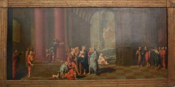 "ALTER MEISTER, ""JESUS IM TEMPEL"", Öl auf Leinwand, gerahmt, um 1700<"
