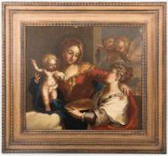 UNBEKANNTER KÜNSTLER, Symbolische Darstellung der Maria als Jungfrau, Öl/Lw, 19 Jh<b