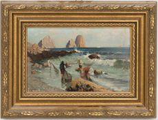 Fischer an der Küste Capris, Öl/Holz, 20. Jh.