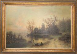 Albert Bredow, Mystische Landschaft mit Burg, Öl/Leinwand, 20. Jh.