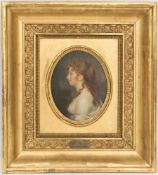 Firmin Massot, Frauenportrait im Profil, Öl/Holz, Schweiz 19. Jh.