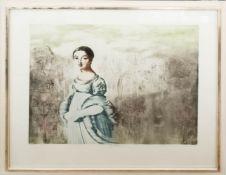 Jiri Anderle, Damengestalt im Garten, Kolorierte Radierung, 20. Jh.
