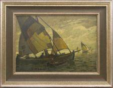 Ludwig Dill, Fischerboote, Öl/Platte, 19. 20. Jh.