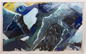 Bernd Zimmer, Komposition in blau, Wasserfarben auf Bütte, Deutschland 20. Jh.
