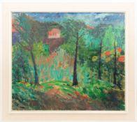 Anton Gold, Blick durch den Garten auf ein Haus, Öl/Leinwand, Deutschland, 20. Jh.