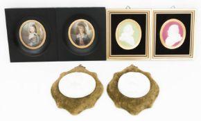 Konvolut von sechs Miniaturen, Portaits von Damen, Herren und Kindern, Porzellan/Alabastergips.Eines