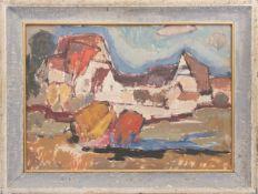 Sepp Mayrhofer, Schwäbische Siedlung. Acry/Hartfaserplatte, Deutschland, 20. Jh.