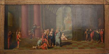 Alter Meister, Jesus im Tempel, Öl/Leinwand, gerahmt, um 1700.