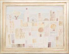Eduard Bargheer, Darstellung einer Stadt, Öl auf Leinwand, 1974.