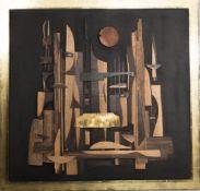 Reinhard Normann, Abstraktes Holzbild, Collage auf Holz, Deutschland 1986.Massives Holzbild im