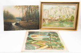 Konvolut von 3 Landschaften, Acryl und Aquarell, 20. Jh.1. F. Hausler, Stadt am Fluss, Öl auf