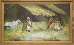 A.Q. Singh, Zwei Frauen mit Mann und Rind, Acryl aud Leinwand, 20. Jh.Unten links signiert,