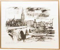 Regensburg, Druck, Deutschland 20. Jh.Unten rechts signiert und betitelt.61 x 52 cm.