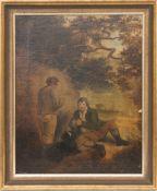 Zwei Männer bei der Rast, Öl auf Platte.Starkes Krakelée, nicht signiert. 34 x 43 cm o.R.42 x 51