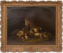 Fernweh mit Schafen und Hühnern, Öl auf Leinwand.Nicht signiert und datiert.65 x 58 cm o.R.85 x 75