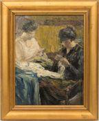 Monogrammist, Bei der Handarbeit, Öl auf Holz, 1921.Zwei Damen bei der Handarbeit in kräftigem
