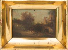 B. Ott, Ansicht einer südlichen Burg, Öl auf Holz, 1863.Unten rechts signiert und datiert. Mittig
