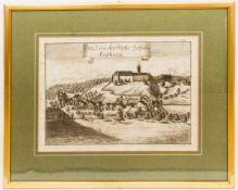 Das Landfürstliche Schloss Friedburg, Kupferstich, Österreich 1779.Im Passepartout hinter Glas