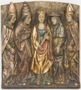 Relief der Maria als Sinnbild der Kirche, Holz.Umgeben von den vier lateinischen Kirchenvätern. 45 x